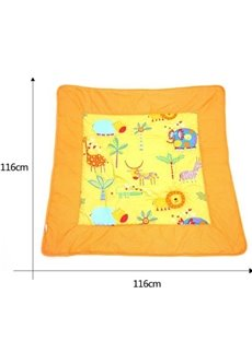Bright Orange Animal Paradise Print Cotton Baby Quilt