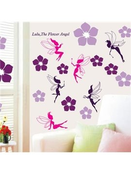 Pretty Wonderful Dragonflies Angel with 46 Flowers Wall Stickers