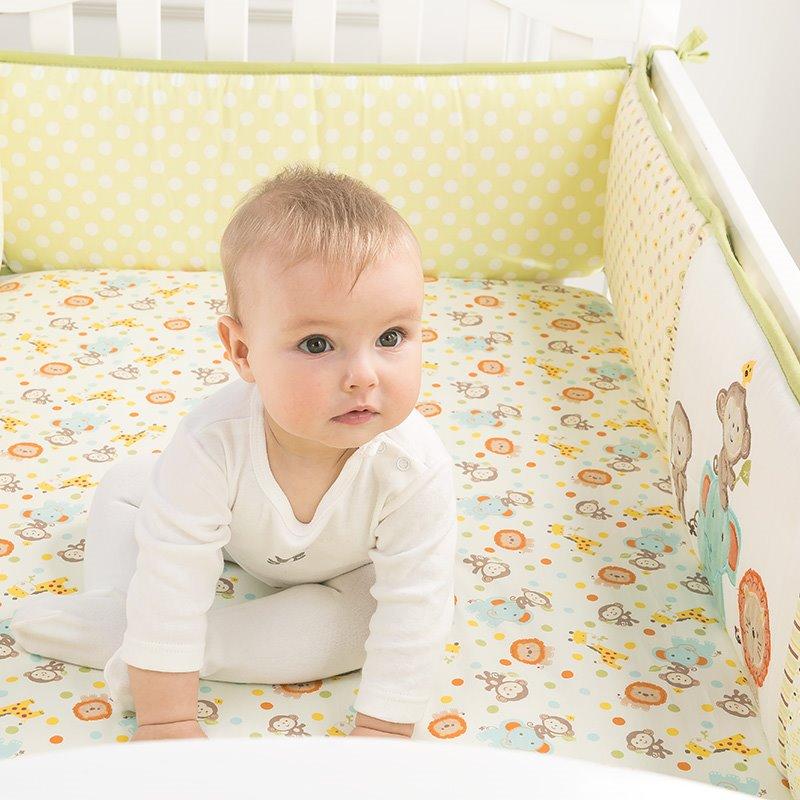 Cute Monkey World Baby Crib Fitted Sheet