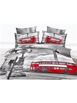 Nostalgic Big Ben and London Bridge Print 4-Piece Cotton Duvet Cover Sets