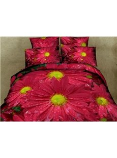 Dewy Red Daisy Print 4-Piece Cotton Duvet Cover Sets