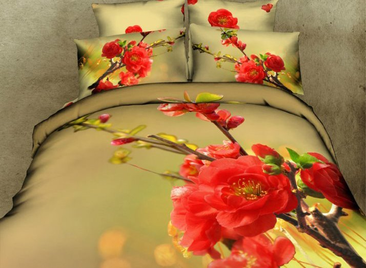 Red Peach Blossom Print 4-Piece Cotton Duvet Cover Sets beddinginn