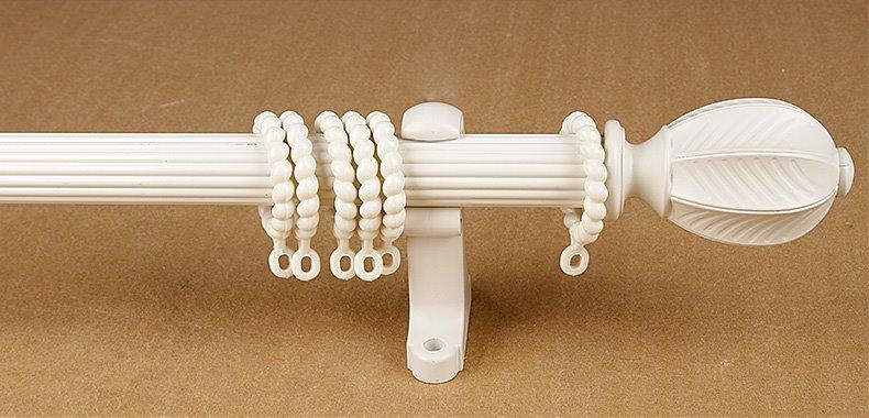 Anti-corrosion Aluminum Alloy Ivory Double Curtain Rod Set