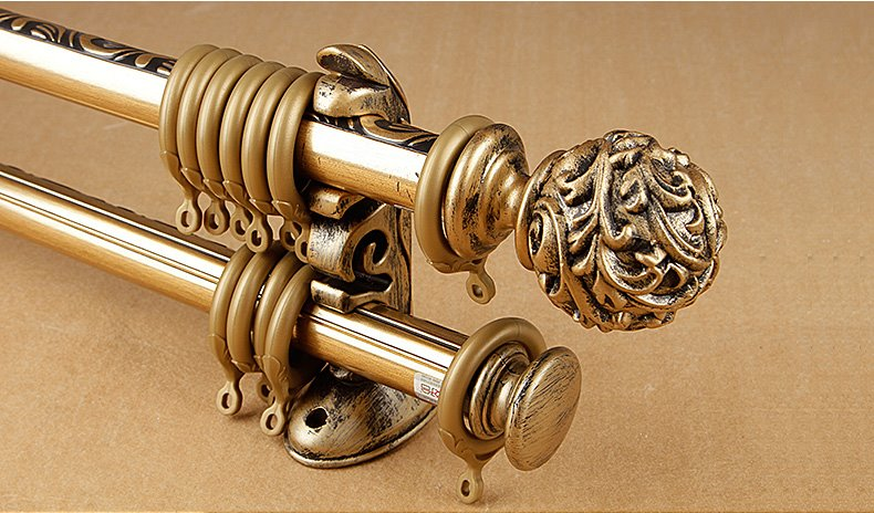 anti corrosion polished copper double curtain rod set