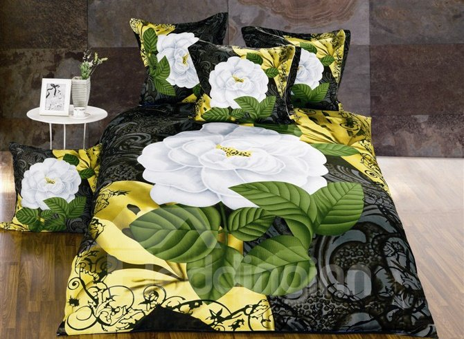 Noble White Peony Print 4-Piece Polyester Duvet Cover Sets