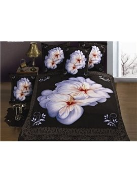 Cozy White Flower Print 4-Piece Polyester Duvet Cover Sets
