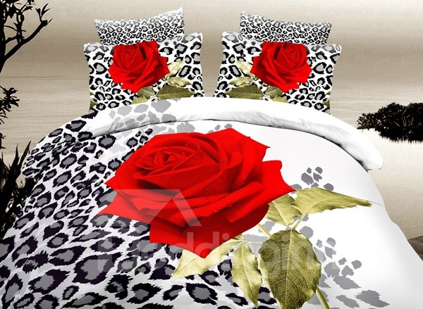 Fascinating Red Rose Print 4-Piece Duvet Cover Sets 11331451