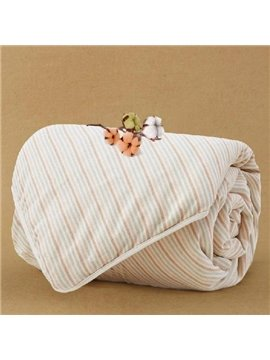 Silk Natural Colored Cotton Stripe Baby Quilt