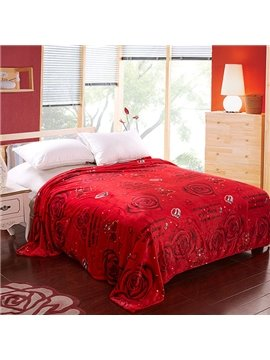 Edge Covered Red Roses Printed Blanket