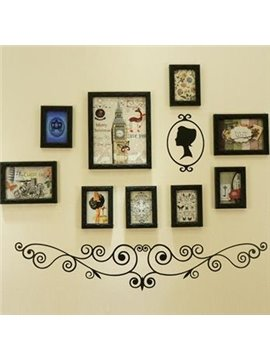 European Style Carved Wood 9-Piece Wall Photo Frame Set