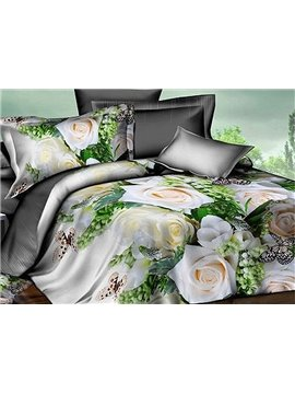 White Rose and Butterfly Print 4-Piece Polyester Duvet Cover Sets
