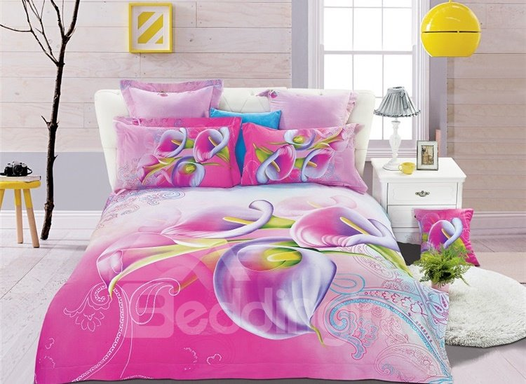 Fresh Pink Calla Lily Print 4-Piece Cotton Duvet Cover Sets