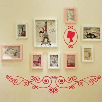 Top Selling Wall Photo Frame Set with Rose Wall Stickers
