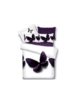 Brilliant Purple Butterfly Print 4-Piece Polyester Duvet Cover Sets