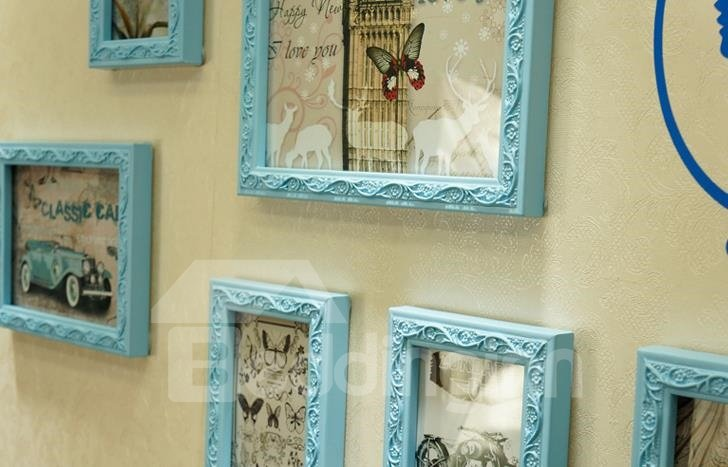 European Style Wall Photo Frame Set with Stickers