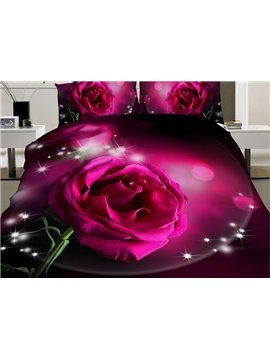 Shining Pink Rose Print 4-Piece Polyester Duvet Cover Sets