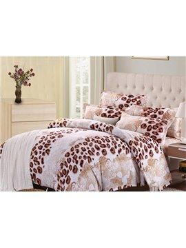 Leopard Print 4-Piece Polyester Duvet Cover Sets