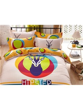Hippy Antelope Head Print 4-Piece Cotton Duvet Cover Sets