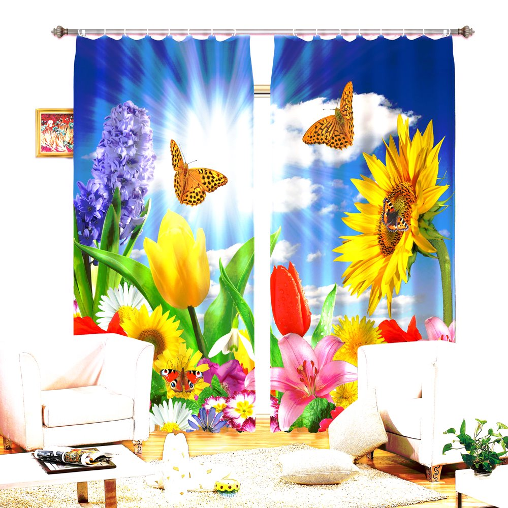 Colorful Flowers Beautiful Butterflies 3D Curtain