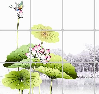 Classical Chinese Style Lotus and Lilypad Kitchen Hearth Removable Wall Stickers