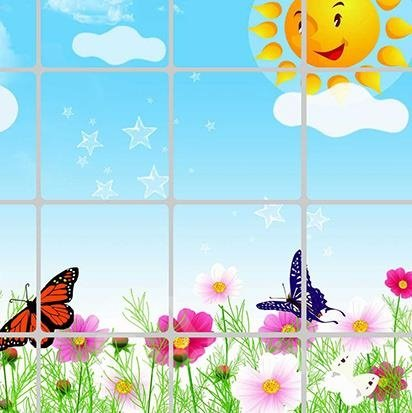 Popular Flowers and Butterfly 5-Piece Wall Stickers