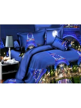 Eiffel Tower Print 4-Piece Polyester Duvet Cover Sets