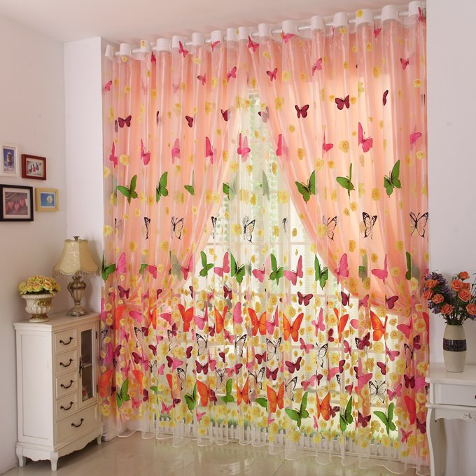 Amazing Colorful Butterfly Grommet Top Sheer