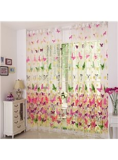 Elegant Beautiful Butterfly Printing Sheer Curtain