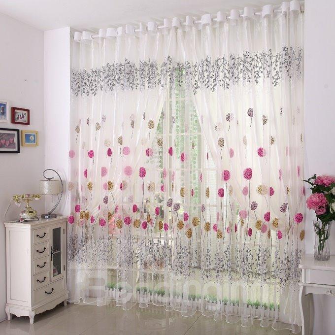 White Elegant Beautiful Dandelion Grommet Top Sheer