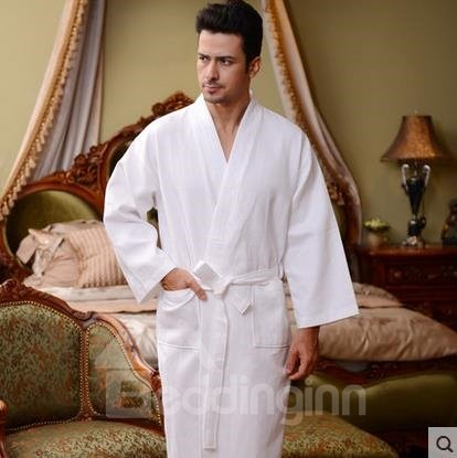 Walf Checks Purified Cotton Hotel  Bathrobe