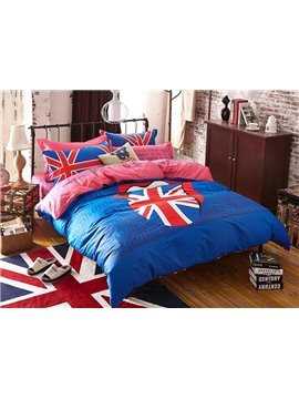 Union Jack with Blue Background 4-Piece Duvet Cover Sets
