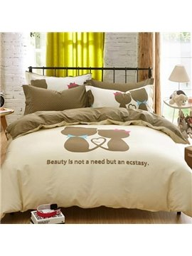 Lovers' world Print 4-Piece Cotton Duvet Cover Sets