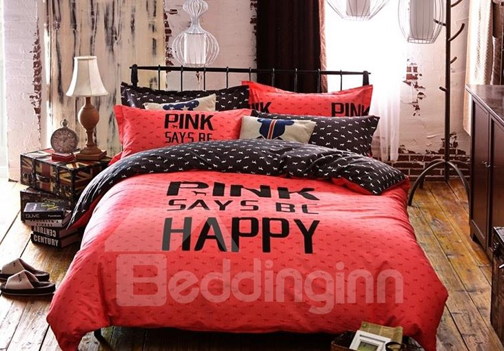 Pink Mood Print 4-Piece Cotton Duvet Cover Sets