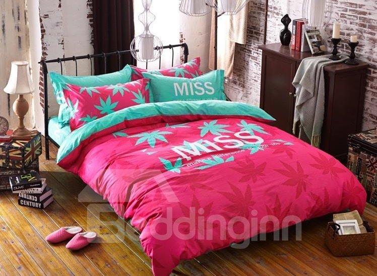 Pink Maple Leaves Print 4-Piece Cotton Duvet Cover Sets