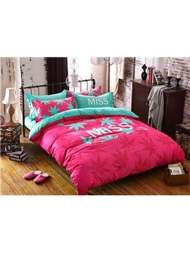 Pink Maple Leaves Print 4-Piece Cotton Duvet Cover Sets