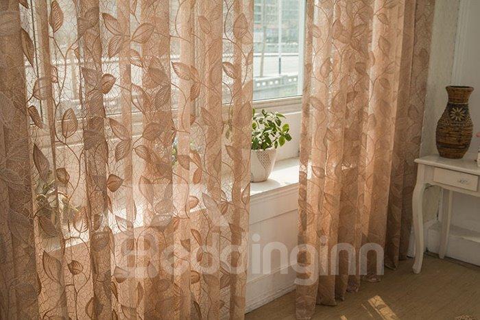 Light Coffee Elegant Leaves Stencil Jacquard Lace Sheer Curtain