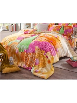 Spring Scenery and Pretty Girl Print 4-Piece Tencel Duvet Cover Sets