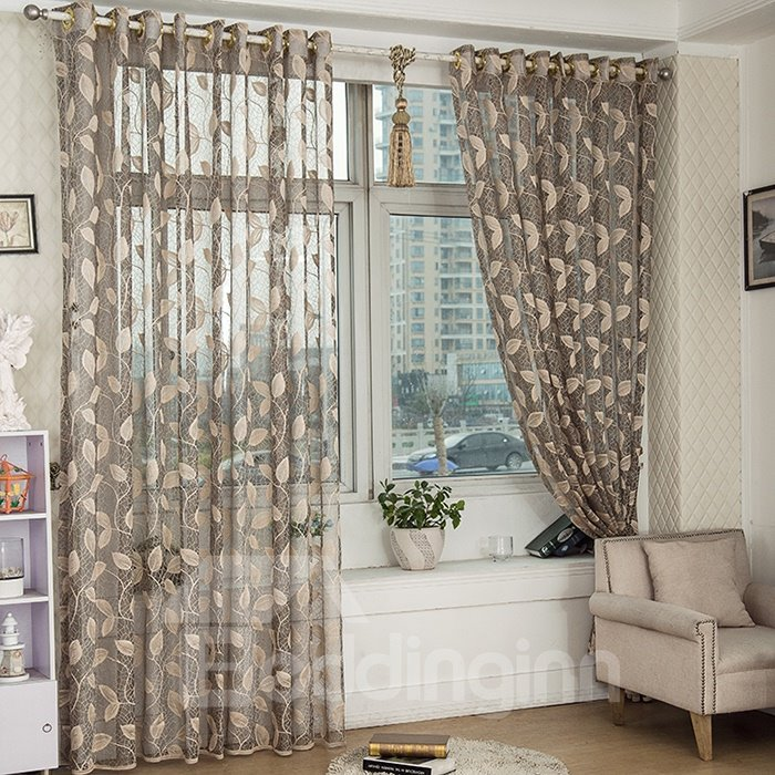 Elegant Gray Leaves Custom Lace Sheer Curtain