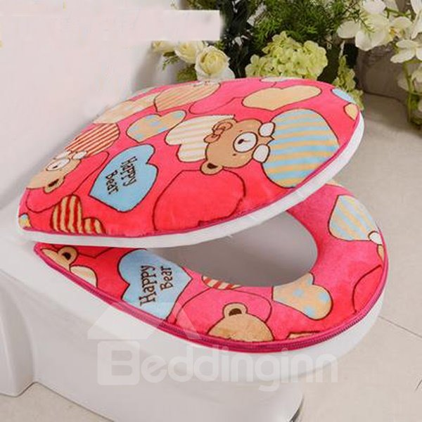 Thicken Warmth Cute Bear 2-Piece Set Toilet Seat Covers