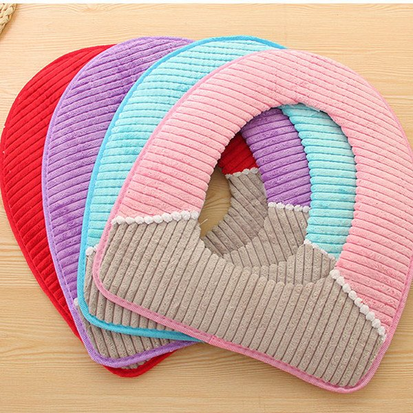 Corduroy PU Waterproof Bottom Plush Thicken Toilet Seat Covers