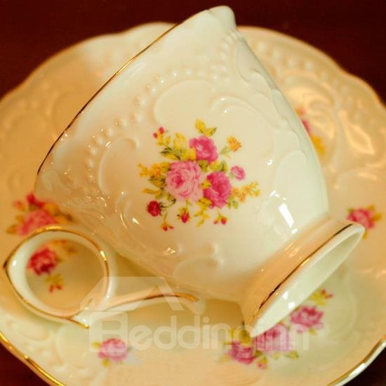 High-Grade Rose Relief Coffee Cup Set