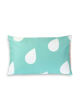 Rain Drops Printing One Pair Cotton Pillowcases