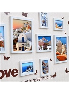 Cheap Wood Photo Frame Set with Butterflies Wall Stickers