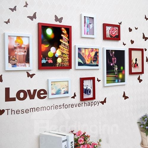 Popular Happy Time Photo Frame Set with Butterflies Wall Stickers