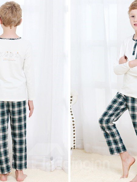 Spring And Summer Pure Cotton Long Sleeve British Style  Boys Pajamas