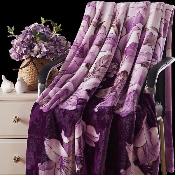 Elegant Purple Lotus Printing Comfy Blanket
