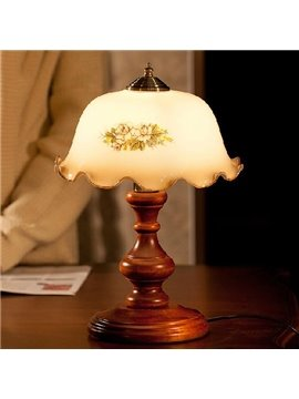 European Luxury Glass and Wood Lamp