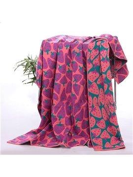 Creative Strawberries Printing Cotton Towel Blanket