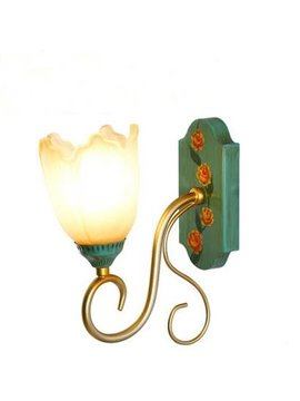 Wonderful Pastoral Glass and Iron 1-Head Wall Light