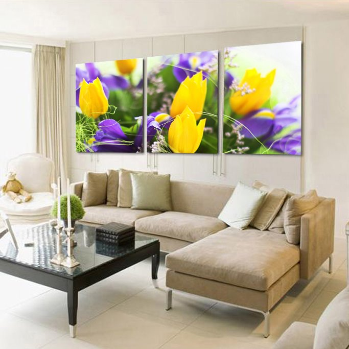 Pretty Yellow Tulips 3-Piece Crystal Film Art Wall Print